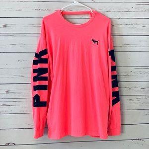 PINK VS Cutout back long sleeve top hot pink